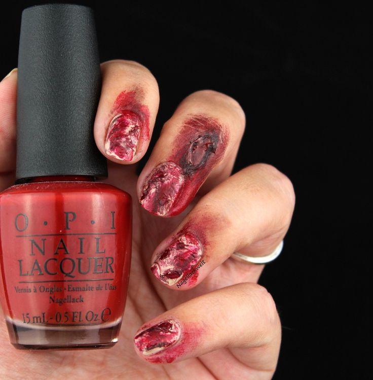 Was wäre Halloween ohne das richtige Nageldesign? Und natürlich dürfen bei den Halloween Nails kleine Wunden nicht fehlen.