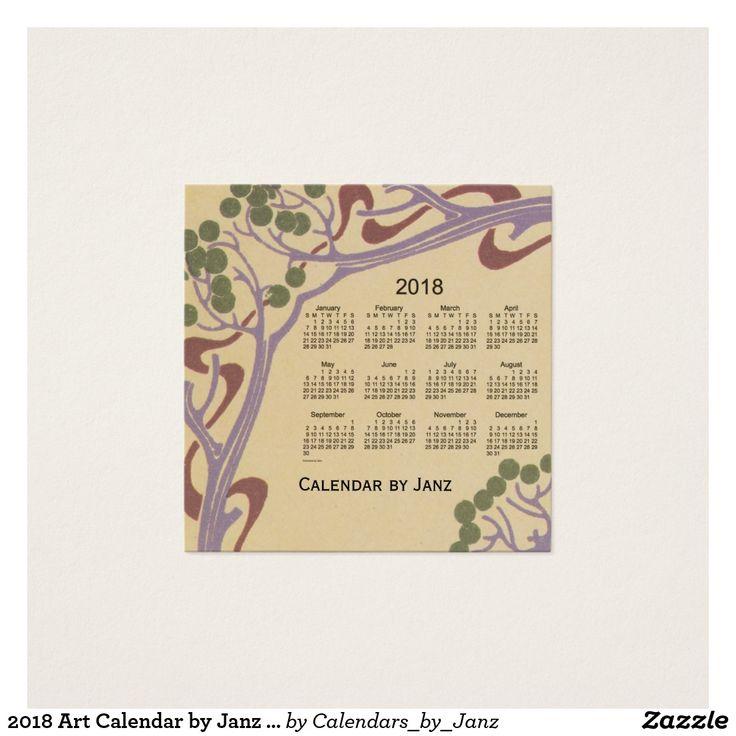 2018 Art Calendar by Janz Square Business Card