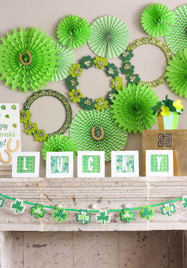 Shamrock Filled St Patrick S Day Mantel Bloggers Best Diy Ideas