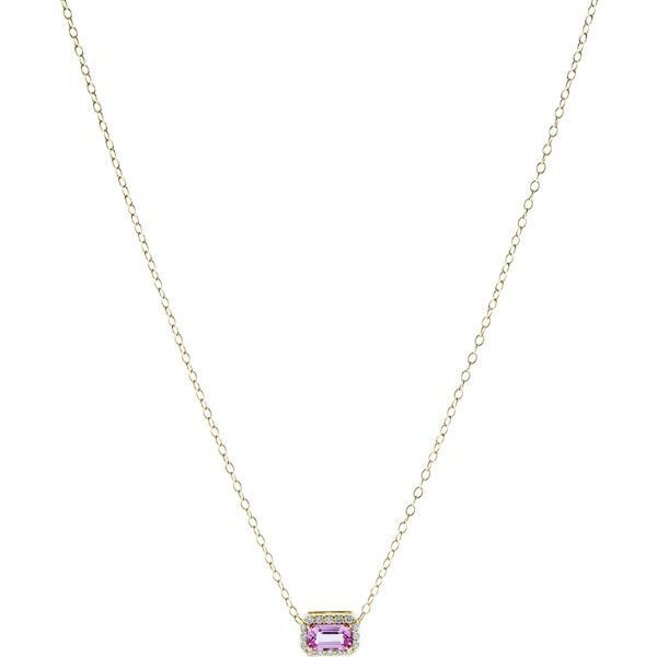 Alison Lou Pink Sapphire Pendant Necklace (42.300 RUB) ❤ liked on Polyvore featuring jewelry, necklaces, adjustable necklace, pink sapphire necklace, 14k jewelry, 14k necklace and 14 karat gold jewelry