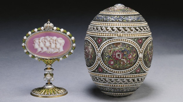 The Mosaic Egg, by Peter Carl Fabergé (1846-1920). The egg was originally a gift from Tsar Nicolas II to Tsarina Alexandra, and contains a cameo of their 5 children. It was confiscated during the Russian Revolution shortly before the Tsar and his family were executed. It was later acquired by the Tsar's cousin, King George V of England.
