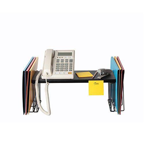 JackCubeDesign Desk Riser Organizer Monitor Desktop Computer Stand Riser Holder Shelf Standing Desk with 2 Compartments for Book and File(Black, 20.5 x 7.2 x 7.2 inches)-MK347B #JackCubeDesign #Desk #Riser #Organizer #Monitor #Desktop #Computer #Stand #Holder #Shelf #Standing #with #Compartments #Book #File(Black, #inches)