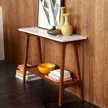 Reeve Mid-Century Coffee Table - Marble/Walnut | west elm