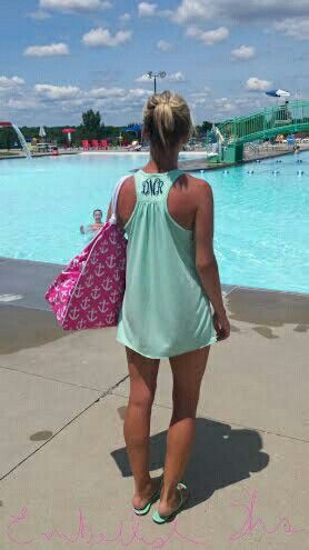 Monogrammed Flowy Tanks!  Great beach cover up. @www.etsy.com/shop/embellishthisllc #monogram #swimsuitcoverup