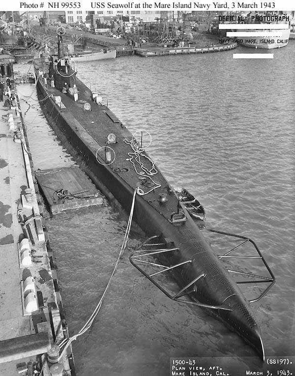 "USN - ""USS SEAWOLF"" (SS-197) was a (310.6') Sargo Class Fleet Submarine – Commissioned: 1 December 1939 – Crew: 5 Officers and 54 Enlisted – Armament: 8 x 21 Inch (533mm) Torpedo Tubes (4 Bow and 4 Stern) (24 Torpedo Reloads) 1 x 3 Inch (76mm) Deck Gun and 4 Machine Guns – Shiwn Mare Island Naval Yard, 3 March 1943 - Lost 3 October 1944, Probably Sunk from Frendly Fire from""RICHARD M. ROWELL"" off Morotai Island, Indonesian – No Survivors"