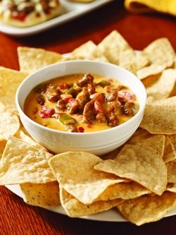 A variation of the queso recipe -- crumbled  hot sausage added to Ro*Tel tomatoes and Velveeta for a quick party dip.  Velveeta is a product of Kraft Foods Inc.