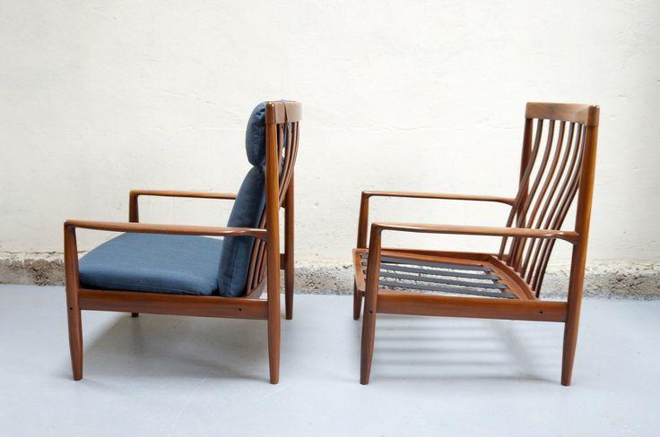 Fauteuil grete jalk paire design scandinave vintage ann es 50 60 70 teck mobi - Decoration interieur vintage ...