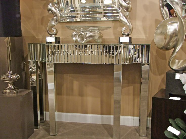 Wonderful Hollywood Regency Mirrored Console Table Glamorous Art Deco Mirror Chic
