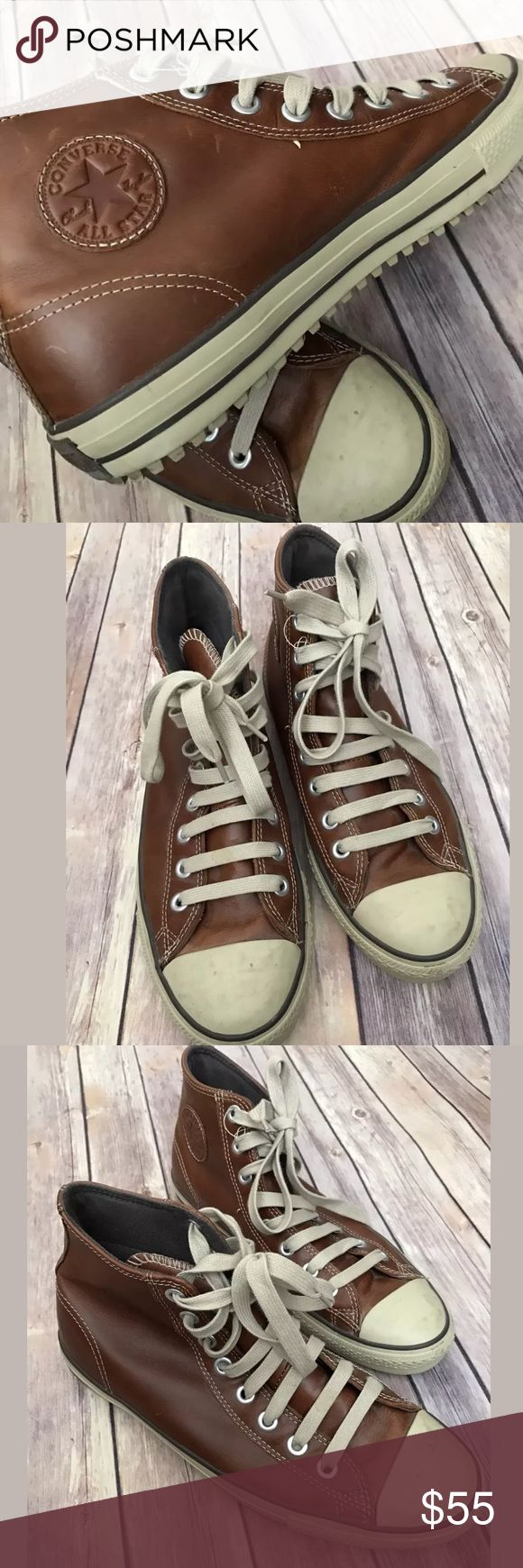 Converse brown leather high tops s M 11.5 W 13.5 Converse Chuck Taylor Leather Shoes Mens Size 11.5  Women's size 13.5  Brown High Top   Great condition, some wear on soles. Shoes will need a minor cleaning.   smoke free pet free home Converse Shoes Sneakers