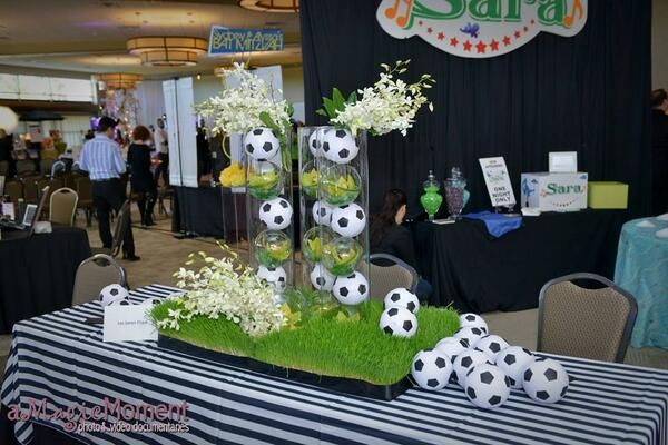 We don't only specialize in  weddings. This soccer ball center piece is just a peak into our other designs. Lee James Floral
