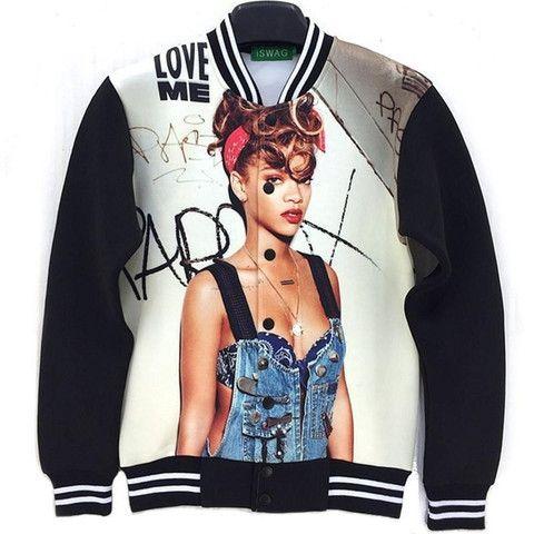 Rihanna Printed Bomber Jacket
