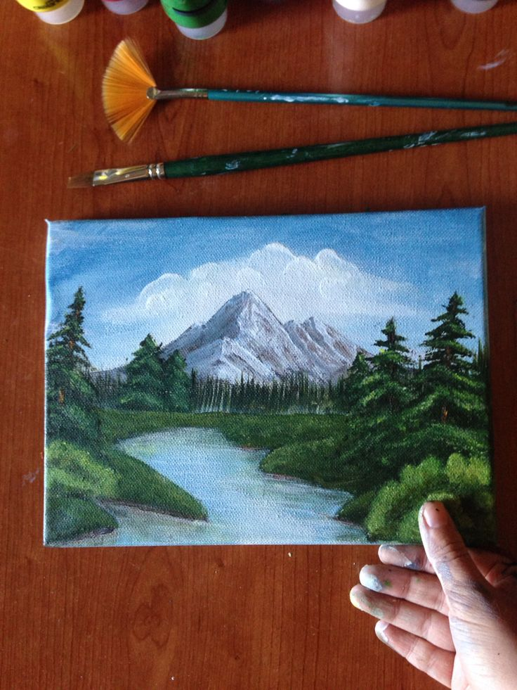 My last paint:)  #paint #byme #realisticpaintings #realpaint #mountains #river and #trees