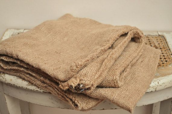 Very Antique Jute Fabric / Handwoven Hessian by LaBourgognedeNath