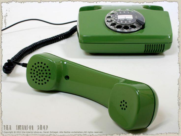 Telefon in grün mit Wählscheibe * Post FeTAp 791-1 * 80er-Jahre * kult *                                                                                                                                                                                 Mehr