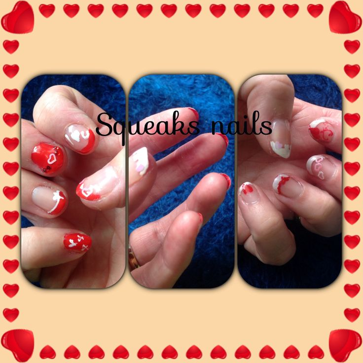 My valentines nails with red under nails!