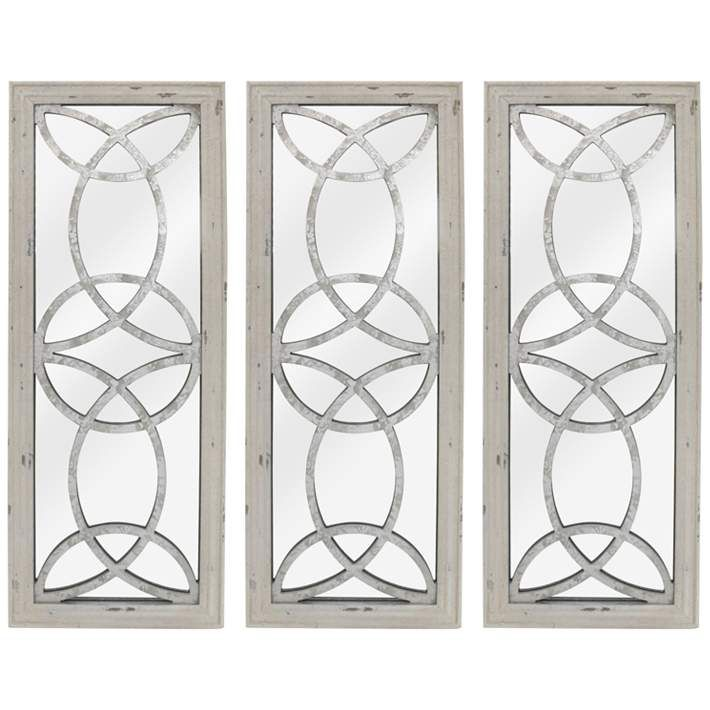 Depiction White 11 3 4 X 31 1 2 Wall Mirrors Set Of 3 79v58 Lamps Plus In 2020 Dinning Room Wall Decor Dining Room Wall Decor Large Wall Decor Living Room