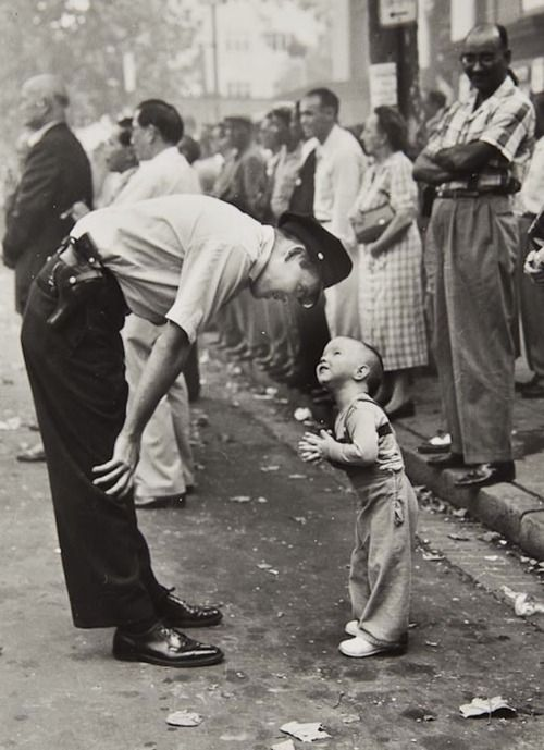 William C. Beall  Faith and Confidence, 1958  A policeman speaks to a young boy at a parade in Washington, D.C. for the Washington Daily News.  1958 Pulitzer Prize for Photography: Police Offices, Daily News, Washington Daily, Black White Photography, The Police, Young Boys, Pulitzer Prizes, Pictures, Beall Faith