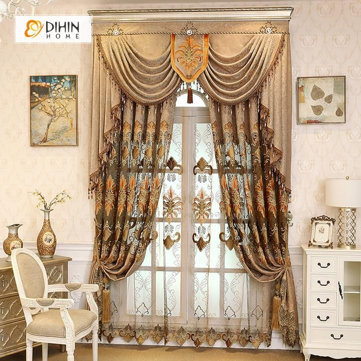 Dihin Home Brown Embroidered Luxurious Valance Blackout Curtains Grommet Window Curtain For Living Room 52x84 Inch 1 Panel Grommet Curtains Curtains Curtains And Draperies Living room curtains with valance