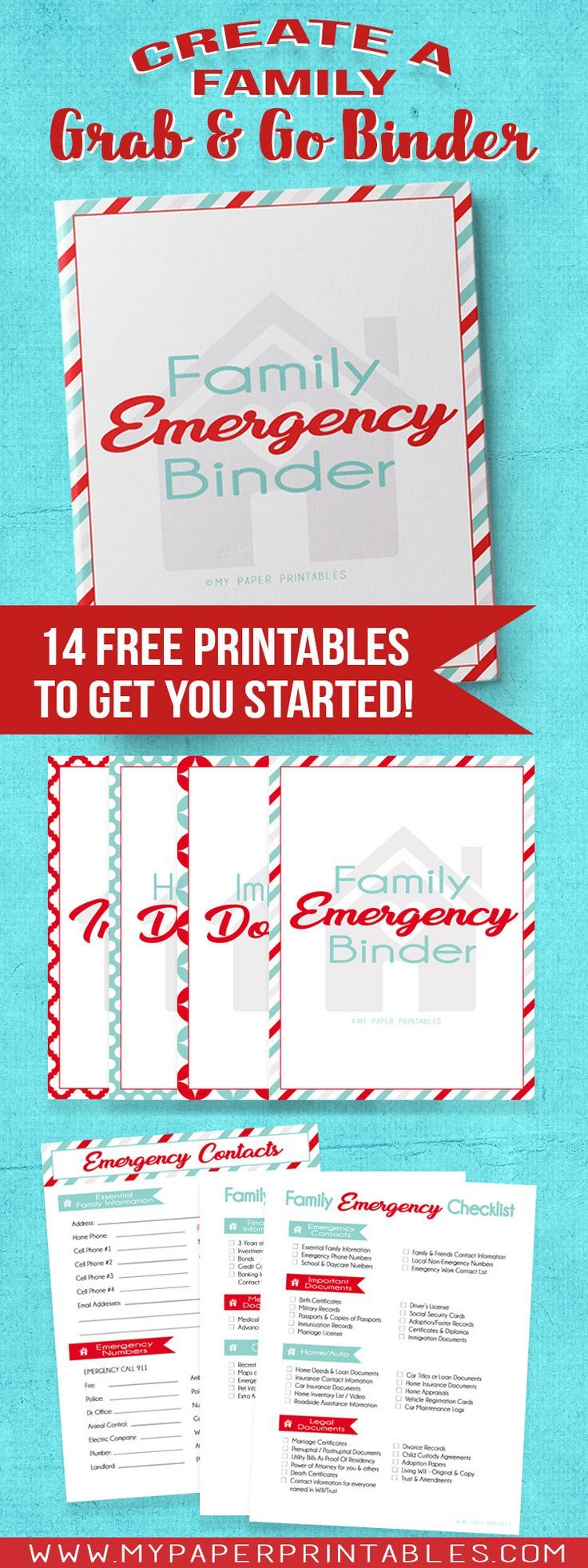 Do you have a Family Emergency Binder?  14 FREE DOWNLOADABLE PRINTABLES to get you started!  Create your grab and go binder in minutes with your important documents  and our easy organizational system.