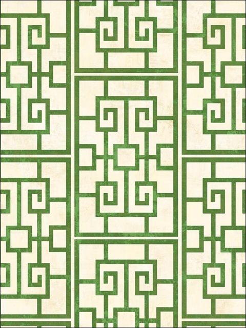 Green Dynasty Lattice Wallpaper