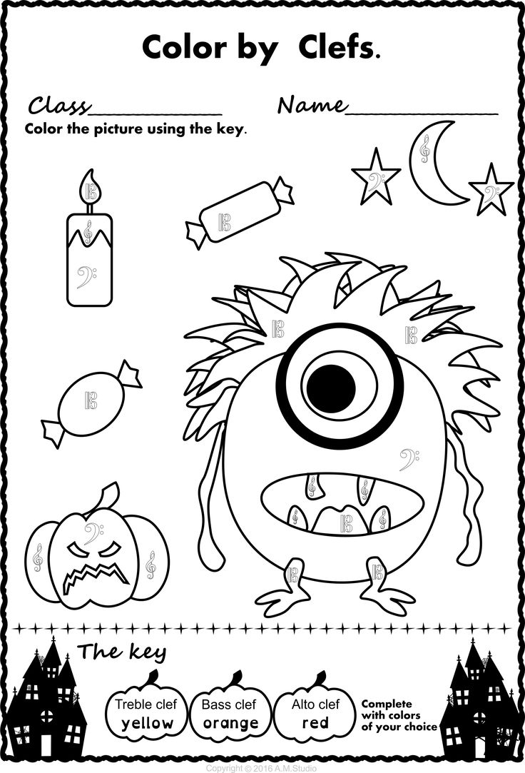 free halloween music coloring pages | 14 best Halloween Music Activities images on Pinterest ...