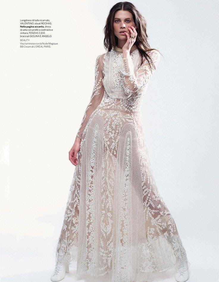 Gorgeous long white lace dress
