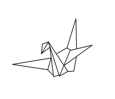 Outline Crane Tattoo Design