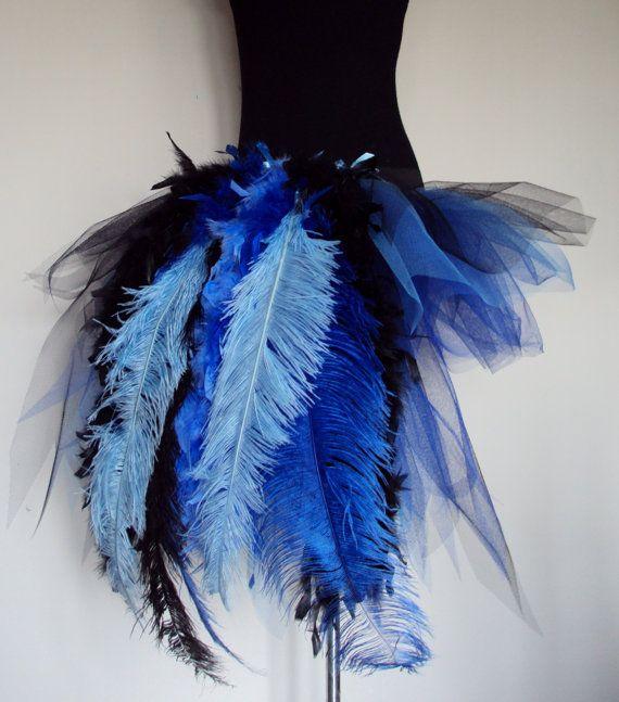 Royal Blue Peacock Burlesque Tutu skirt size 4 by thetutustoreuk