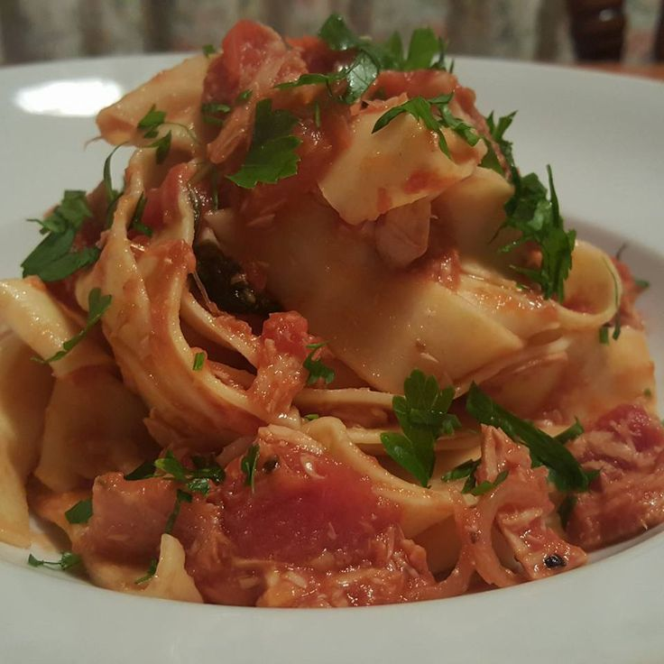 Tuna and Tomato Pappardelle