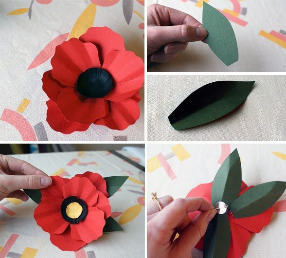 How to make paper poppies - could be useful for a Remembrance Day display.
