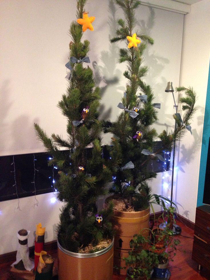 Árbol de Navidad, búhos.