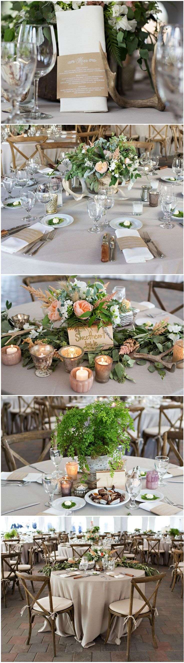 Rustic romance, wedding reception, table décor, antlers, peonies, votives, cross-back chairs // La Vie Photography