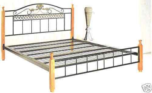 Prince-queen-metal-frame-bed-with-timber-posts-FREE-Delivery-within-SYDNEY