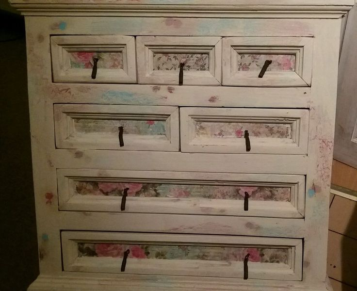 Shabby chic chest of drawers wood decoupage flowers cream pink turquoise  in Home, Furniture & DIY, Furniture, Chests of Drawers | eBay!