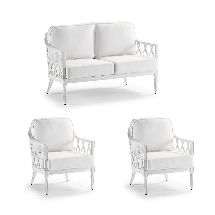 Avery 3-Pc. Loveseat Set In White – Rumor Snow With Logic Bone Piping, Rumor Sno…  – Products
