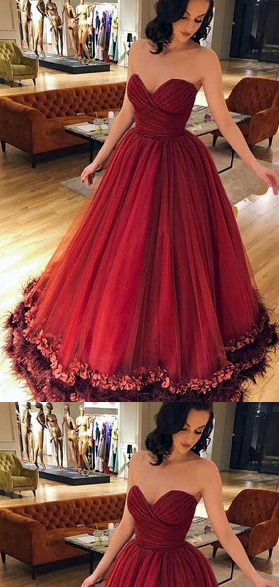 bc7d864e441 Romantic Burgundy Ball Gown Sweetheart Tulle With Appliques Prom Dress P738   burgundy  ballgown  sweetheart  tulle  appliques  promdress  partydress    ...