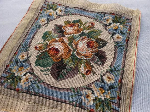 Vintage Completed Needlepoint Canvas Tapestry Rose by HappyElement, $49.00
