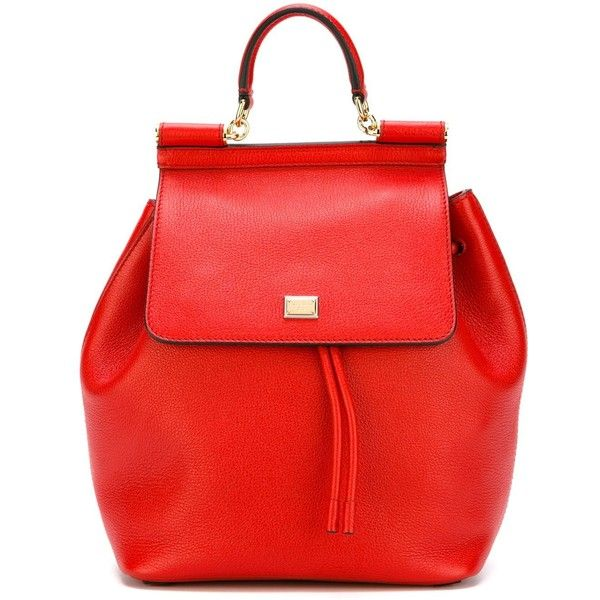 Dolce & Gabbana 'Sicily' backpack ($1,550) ❤ liked on Polyvore featuring bags, backpacks, purses, red, red bag, red backpack, day pack backpack, dolce gabbana bag and hardware bag