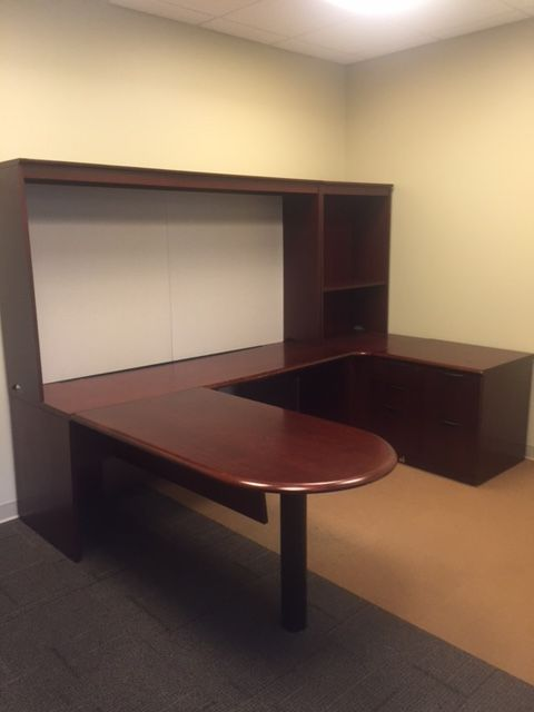 Used Steelcase Office Furniture | U Shaped Desks With Massive Tackboard.  Would Look Very Cool