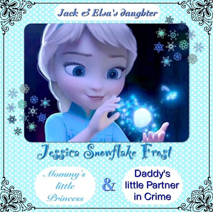 """Delaney: """"Made this pin myself. I've always imagined Jack & Elsa having a daughter named Jessica. She'd be a spitting image of Elsa, but born with one silver-white streak. She is a slight mischief maker, like Jack, but can be very loving, like Elsa. She's like Elsa's sister Anna, Jack's sister Emma, & Jamie's sister Sophie all in one. 'Man in Moon' turns her immortal at age 6. Of coarse she is born with snow powers, obviously. She is a true believer & the Guardians all love & adore her."""""""