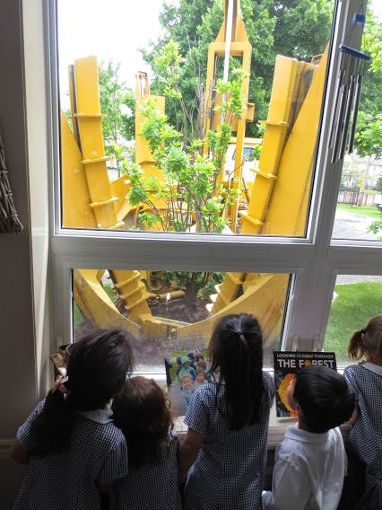 "The PK children wondered how the trees were going to be moved and replanted by the 'big machine.' One child shared, ""The workers need to make a big hole because the roots are so big!"""
