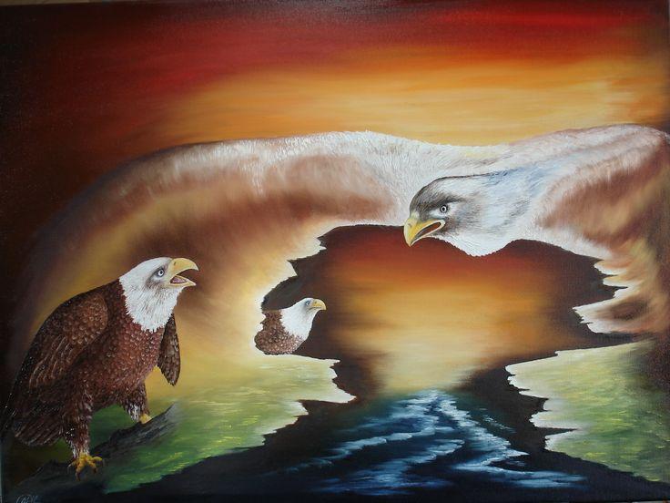 """""""Rivaliteit"""" olieverf op doek afm. 80 x 60 cm  sur-realistisch werk"""