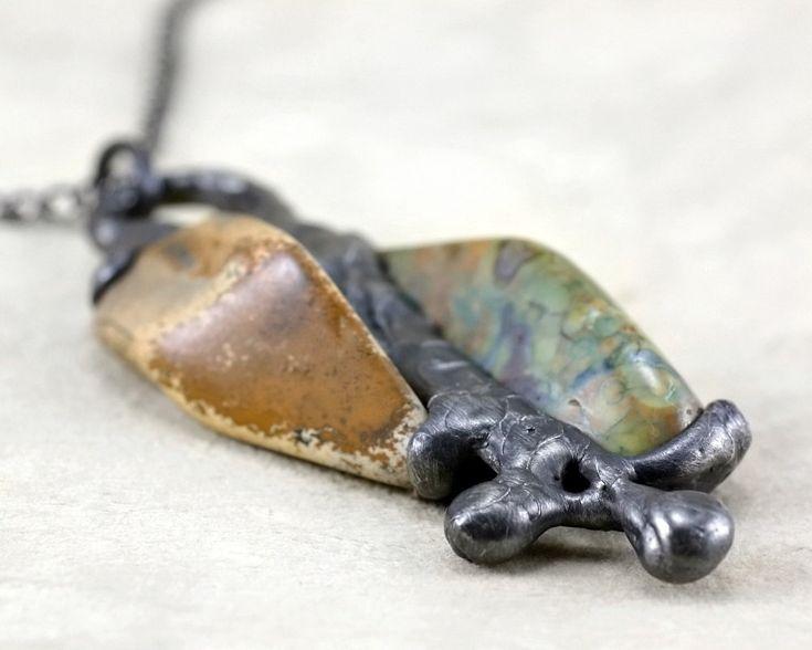 jasper stone necklace, statement  necklace, natural stone, Tiffany method, big necklace, handmade by pentaxPL on Etsy