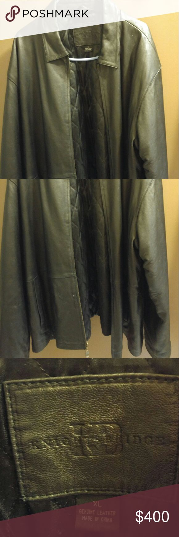 Men's Xlarge leather jacket SALE Gently used Xlarge Genuine leather jacket Lined inside with warm cushion polyester fabric. Several pockets hidden  Zip closure Open to offers KnightsBridge Jackets & Coats
