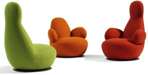 Seating by Bla Station: These cute chairs remind me of the adorable cartoon characters, the Barbapapas from the children's books written by Annette Tison And Talus Taylor.