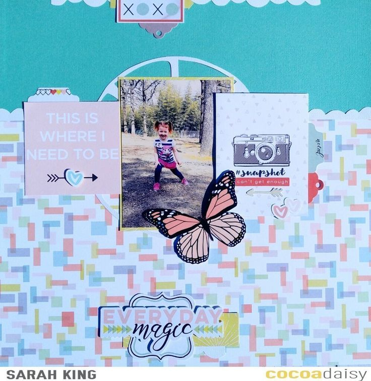 Everyday Magic, by Sarah King using the Real Life collection from www.cocoadaisy.com #cocoadaisy #kitclub #scrapbooking #layout #cutfiles #DITL #diecuts #tabs #border