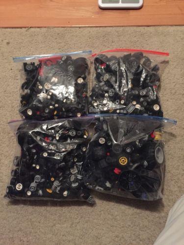Legos Wheels Axels Rims Tires Hubs Assorted 2 Lb Bags