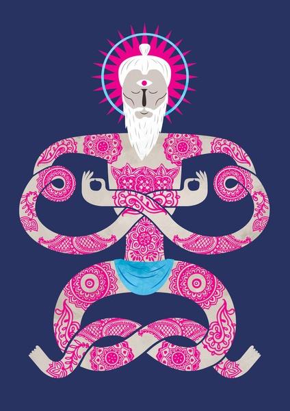 Unwind your mind Art Print yoga, bendy, limber, zen, enlightened, tattoo, halo, yogi, art, illustration, poster,
