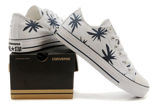 176f598f56ee White Converse Hemp Leaf Print Chuck Taylor All Star Low Tops Canvas Shoes   converse  shoes