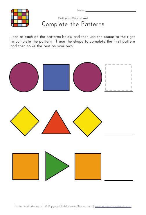 11 best pattern worksheets images on pinterest math patterns kindergarten center signs and. Black Bedroom Furniture Sets. Home Design Ideas